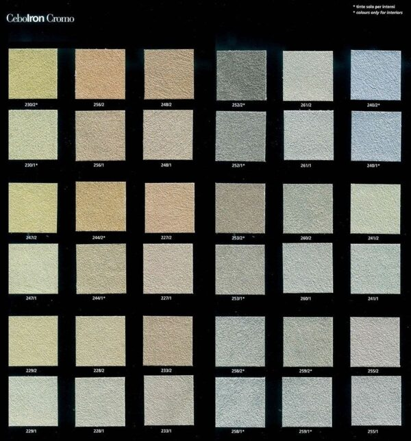 Collezione colori pittura decorativa effetto sabbiato cebostone light