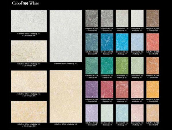 Collezione colori vernice decorativa effetto damascato cebofree white