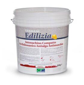 Intonachino compatto acrilsilossanico antialga, antimuschio 1,2 mm, 25 kg