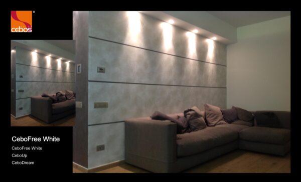 Applicazione vernice decorativa effetto damascato cebofree white
