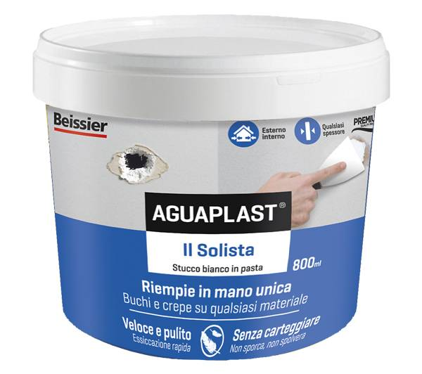 Stucco bianco AGUAPLAST IL SOLISTA ultra leggero in pasta 800 ml