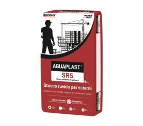 Stucco per esterno fibrorinforzato ruvido AGUAPLAST SR5 bianco kg.6