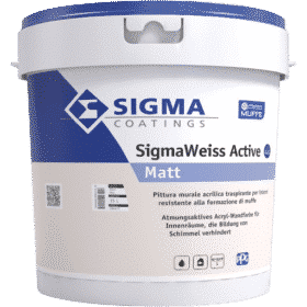 Pittura antimuffa per interni traspirante murale acrilica ottima copertura SigmaWeiss Active