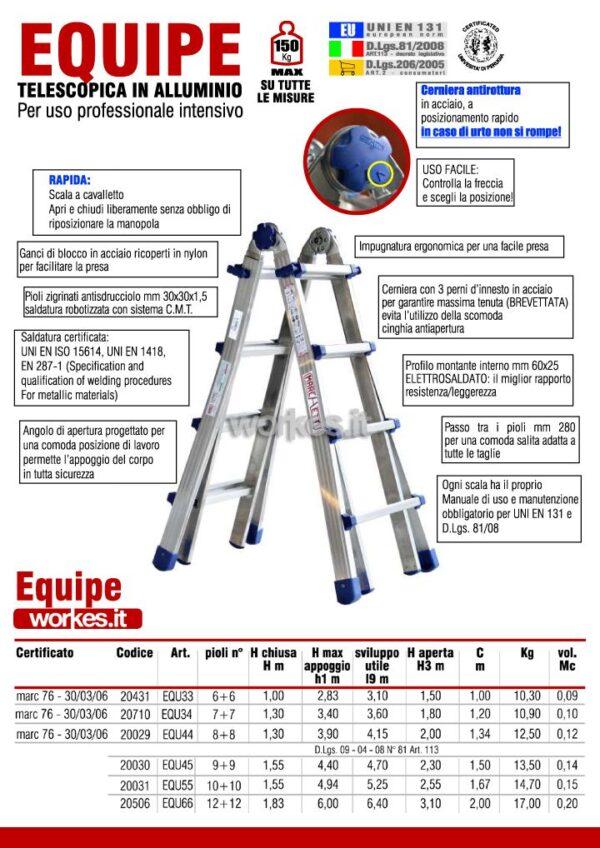 Scala telescopica in alluminio 8+8 pioli altezza 3,80 metri Marchetti Equipe