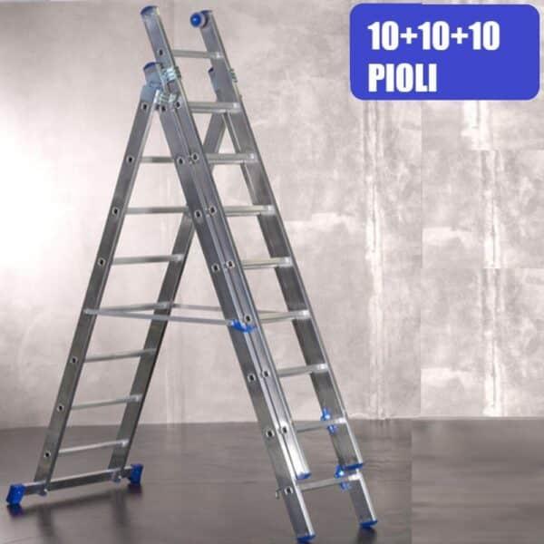 Scala sfilabile in alluminio 10+10+10 pioli altezza max 7,10 m a tre tronchi Marchetti Azzurra AC3