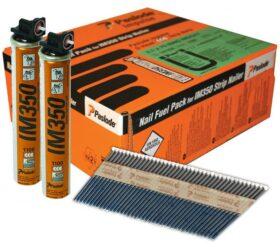 Chiodi rullati a nastro 2.8x63 mm per chiodatrice PASLODE IM350 confezione da 3300 pezzi + 3 bombole gas