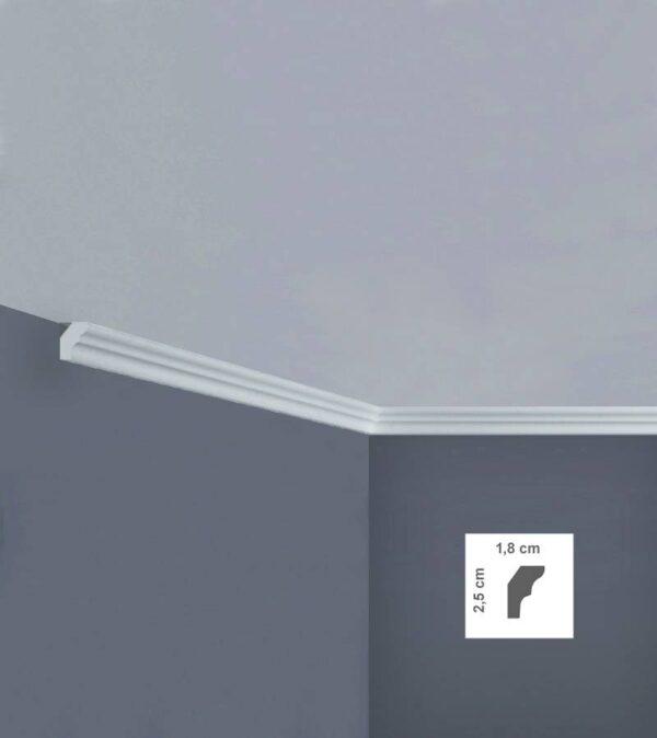 Cornice in polistirolo bovelacci per soffitto I725 1,8x2,5 cm lunghezza ml.2
