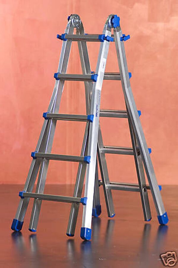 Scala telescopica estraibile in alluminio 9+9 pioli altezza 4,35m Marchetti Equipe