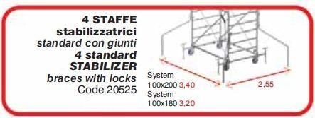 Kit 4 staffe stabilizzatrici per trabattello SYSTEM 100 x 200 cm