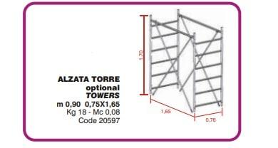 Semialzata torre per trabattello GRIM EU75 75 x 165 cm