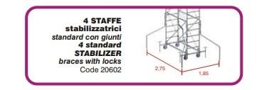Kit 4 staffe stabilizzatrici per trabattello GRIM EU75 75 x 165 cm