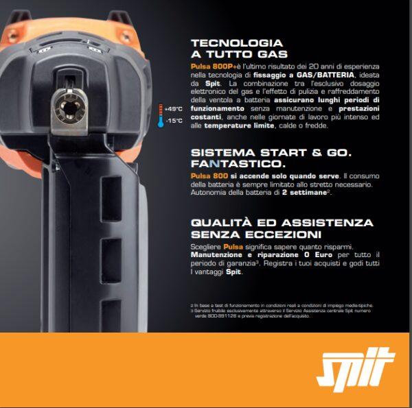 Chiodatrice a gas / batteria per legno acciaio cartongesso laterizi SPIT PULSA 800P+