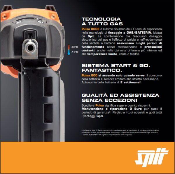 Chiodatrice a gas / batteria per legno acciaio cartongesso laterizi SPIT PULSA 800E