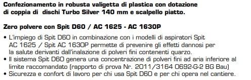 Scanalatrice a doppio disco per muratura laterizio pieno o forato e pietra tenera Spit D60