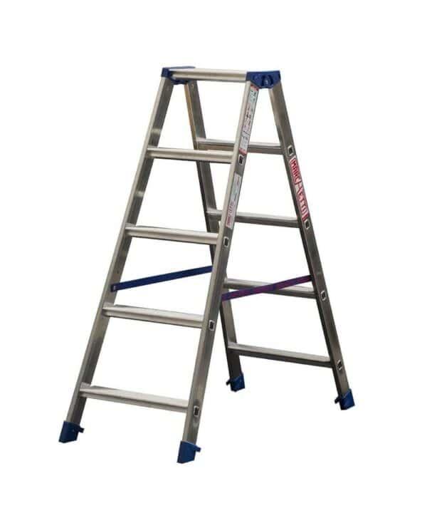 Scala a doppia salita in alluminio altezza 2,5 m 10 gradini per Marchetti Gaudi' 10