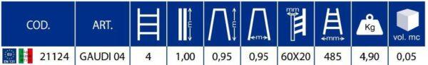 Scala doppia salita in alluminio altezza 95 cm 4 gradini Marchetti Gaudi' 04