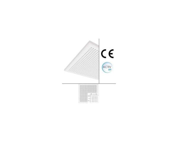 Controsoffitto fonoassorbente in gesso bianco con foratura quadrata regolare 60x60 cm