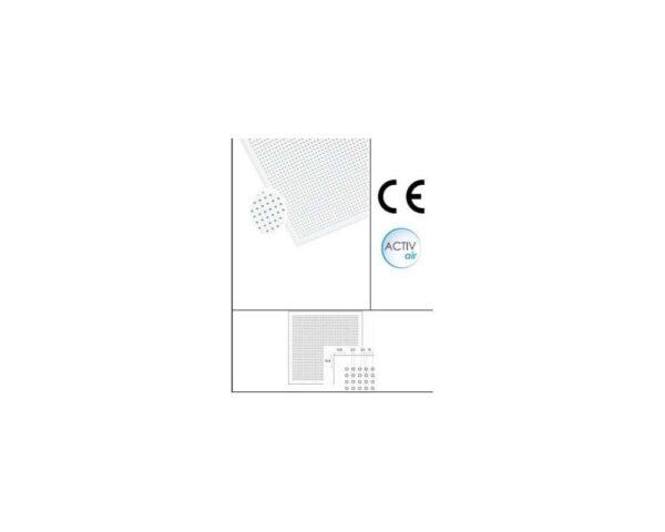 Pannello per controsoffitto fonoassorbente in cartongesso bianco con foratura circolare 60x60