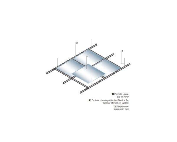Schema di montaggio Pannello controsoffitto in lamiera lay on non forato 60x60 con bordo ribassato