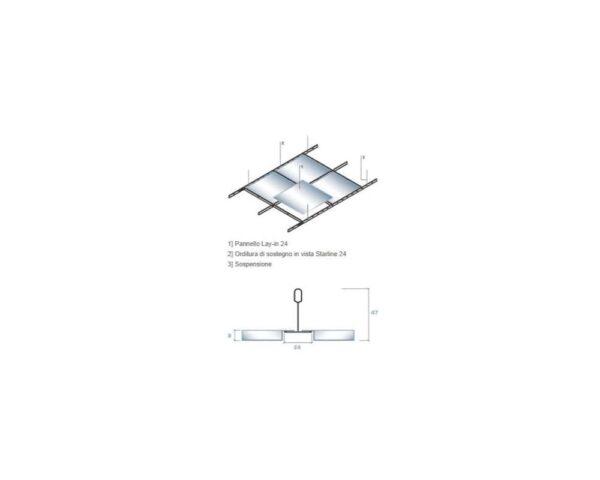Struttura Pannello controsoffitto 60x60 cm in lamiera, foratura totale F1 con bordo ribassato lay-in 24 mm per struttura a vista