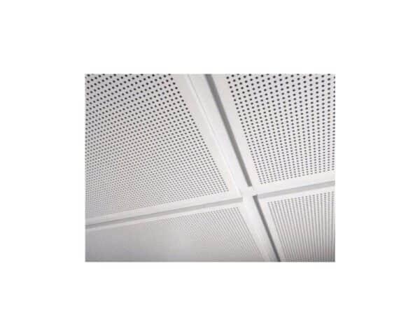 Pannello controsoffitto 60x60 cm in lamiera, foratura totale F1 con bordo ribassato lay-in 24 mm per struttura a vista - Bianco