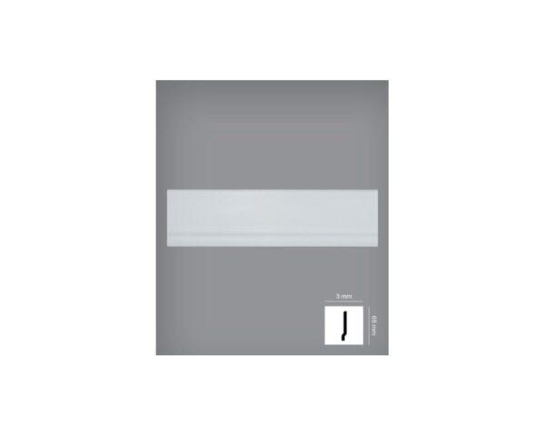 Battiscopa bianco 3x68 mm in HIPS polistrutturato stile moderno liscio Bovelacci PB68