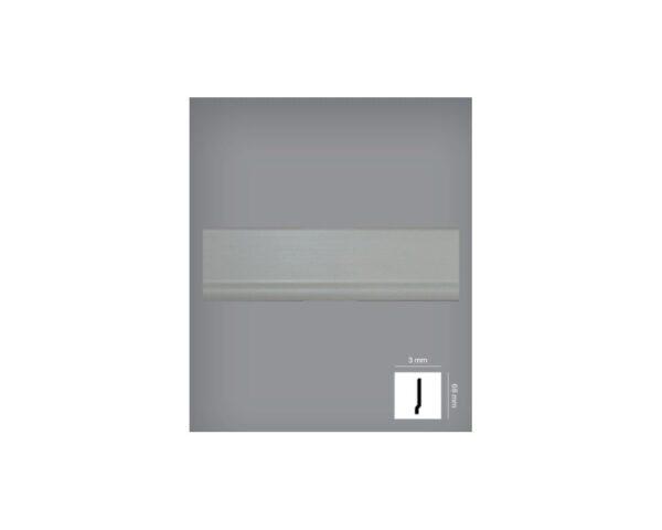 Battiscopa grigio chiaro 3x68 mm in HIPS polistrutturato stile moderno liscio Bovelacci PB68
