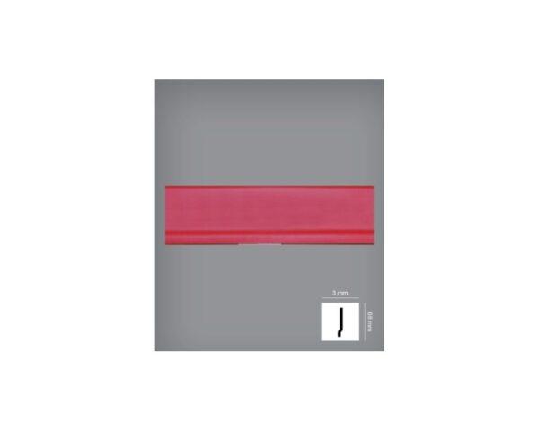 Battiscopa rosso 3x68 mm in HIPS polistrutturato stile moderno liscio Bovelacci PB68