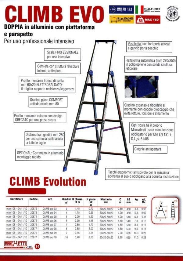 Scala doppia professionale in alluminio a 3 Gradini altezza 1,45 metri Marchetti Climb EVO 03