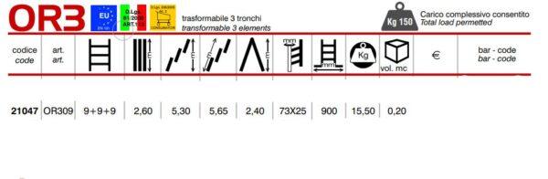Scala trasformabile a 3 tronchi 9+9+9 pioli Marchetti Orange OR309