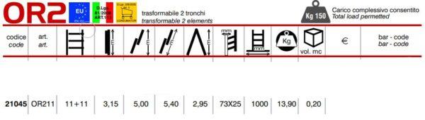 Scala trasformabile a 2 tronchi 11+11 pioli Marchetti Orange OR211