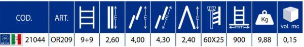 Scala trasformabile a 2 tronchi 9+9 pioli Marchetti Orange OR209