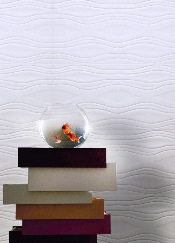 """Pannello decorativo in gesso 50 x 50 cm PR Group """"Onda""""- Conf. 2 Pannelli + kit installazione"""