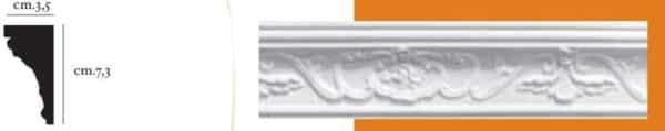 Cornice decorativa in gesso per pareti e soffitti 3,5 x 7,3 cm PR Group Artegesso Art.14