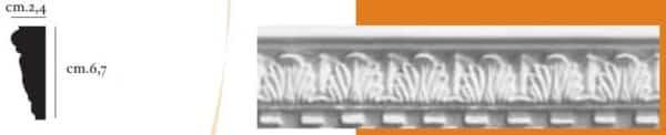 Cornice decorativa in gesso per pareti e soffitti 2,4 x 6,7 cm PR Group Artegesso Art.15