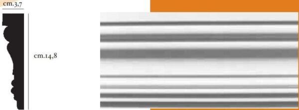 Cornice decorativa in gesso per pareti e soffitti 3,7 x 14,8 cm PR Group Artegesso Art.29
