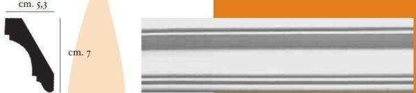 Angolo a sguscia in gesso per pareti e soffitti 5,3 x 7 cm PR Group Artegesso Art. 49