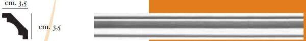 Angolo a sguscia in gesso per pareti e soffitti 3,5 x 3,5 cm PR Group Artegesso Art. 51