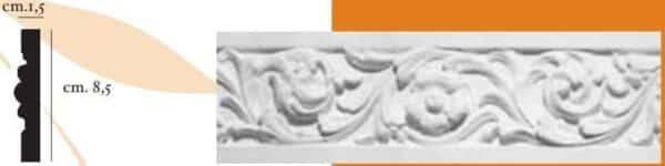 Cornice decorativa in gesso per pareti e soffitti 1,5 x 8,5 cm PR Group Artegesso Art. 55