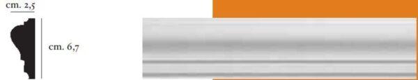 Cornice decorativa in gesso per pareti e soffitti 2,5 x 6,7 cm PR Group Artegesso Art. 58