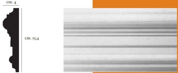 Cornice decorativa in gesso per pareti e soffitti 4 x 15,4 cm PR Group Artegesso Art. 60