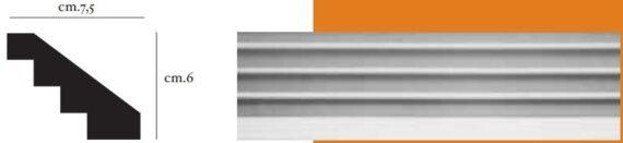 Angolare a sguscia in gesso per pareti e soffitti 7,5 x 6 cm PR Group Artegesso Art. 80