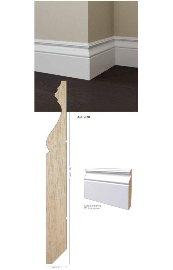 Battiscopa in legno ayus 160 x 18 mm - laccato bianco