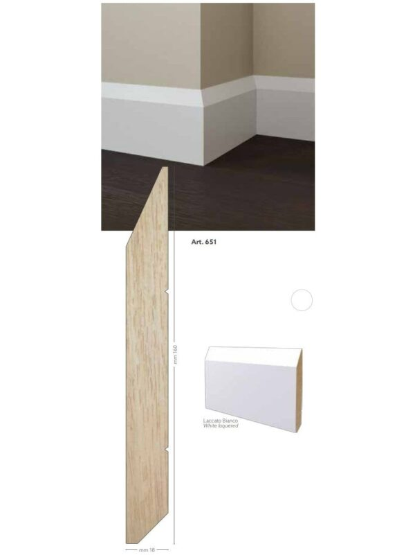 Battiscopa in legno ayous laccato bianco 160 x 18 mm lunghezza 2 metri Toscan Stucchi Art.651