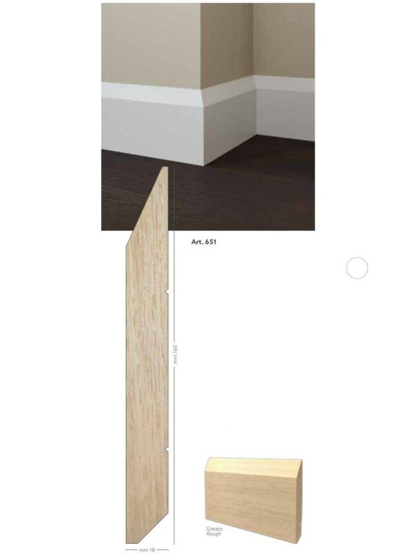Battiscopa in legno ayous grezzo 160 x 18 mm lunghezza 2 metri Toscan Stucchi Art.651