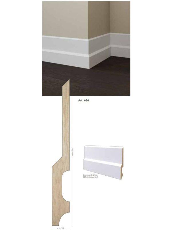 Battiscopa in legno ayous laccato bianco 150x18 mm lunghezza 2 metri Toscan Stucchi Art.636