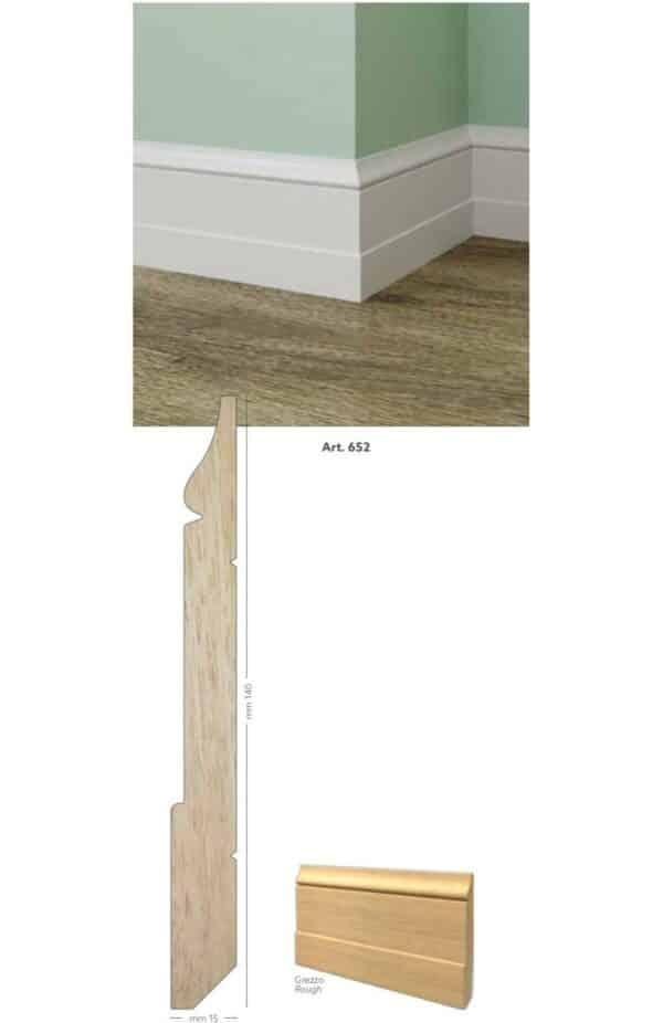 Battiscopa in legno ayous grezzo 140 x 15 mm lunghezza 2 metri Toscan Stucchi Art.652