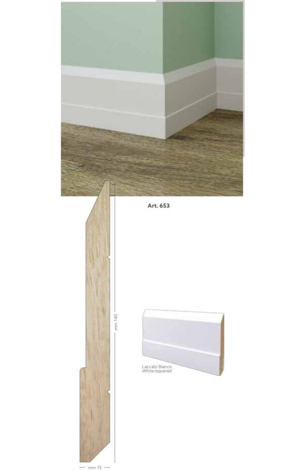 Battiscopa in legno ayous laccato bianco 140 x 15 mm lunghezza 2 metri Toscan Stucchi Art.653