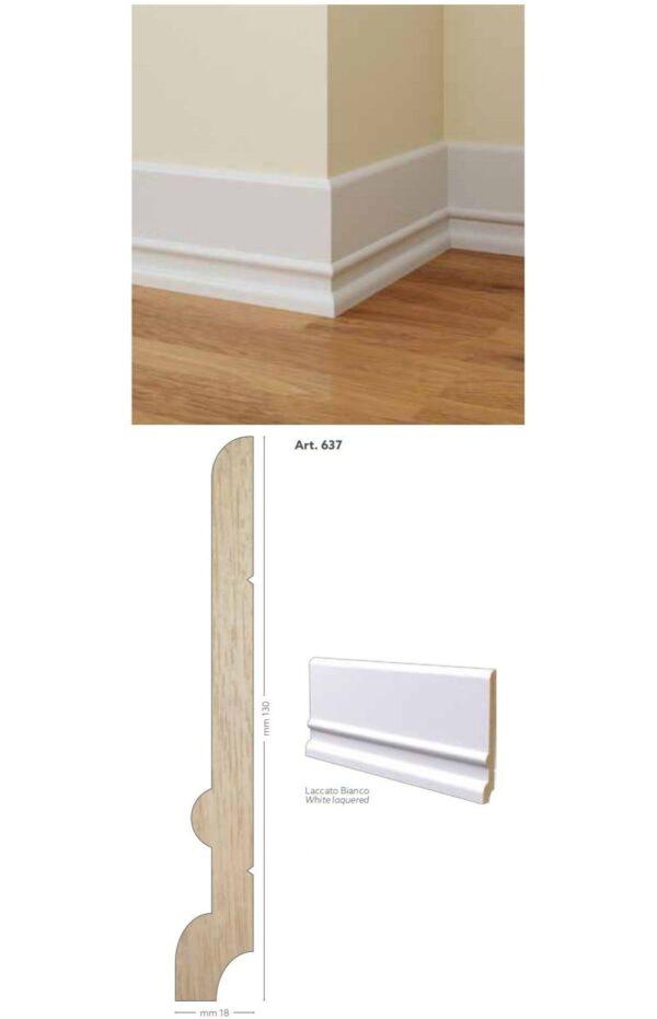 Battiscopa in legno ayous laccato bianco 130 x 18 mm lunghezza 2 metri Toscan Stucchi Art.637