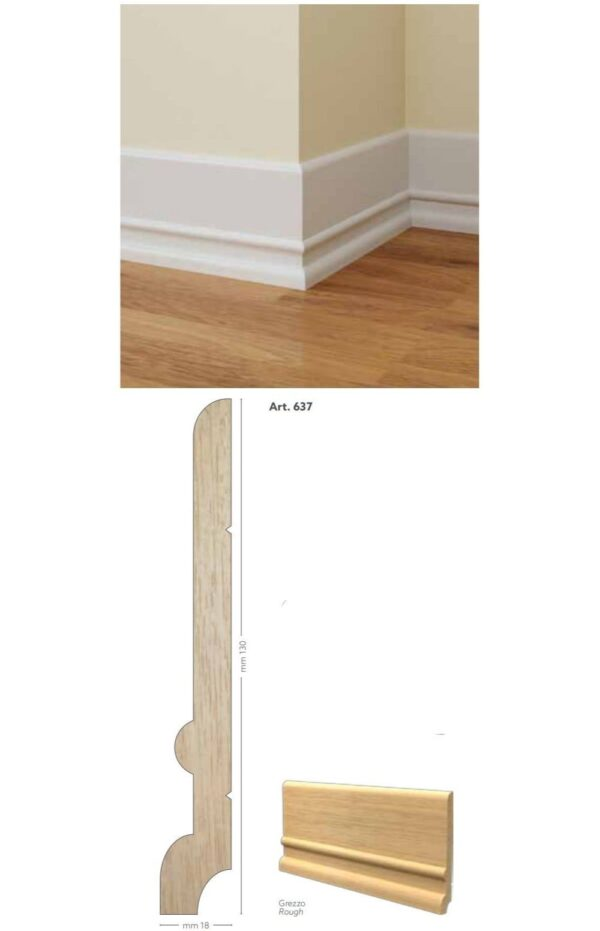 Battiscopa in legno ayous grezzo 130 x 18 mm lunghezza 2 metri Toscan Stucchi Art.637